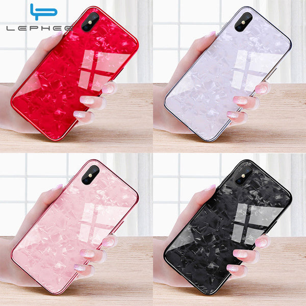 For iPhone 7 Case For iPhone X Case For iPhone XS Max XR 10 6 6s 8 Plus Luxury Conch Shell Shockproof Tempered Glass Phone Case
