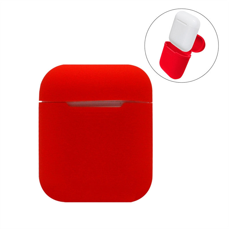 ***Silicone Shock Proof Protective Case Sleeve Skin Cover for AirPods True Wireless Headphone Charging (Red)