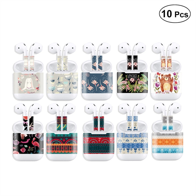 10 Pcs Skins Sticker Protective Decal Cover Phone Wrap for Apple Airpods