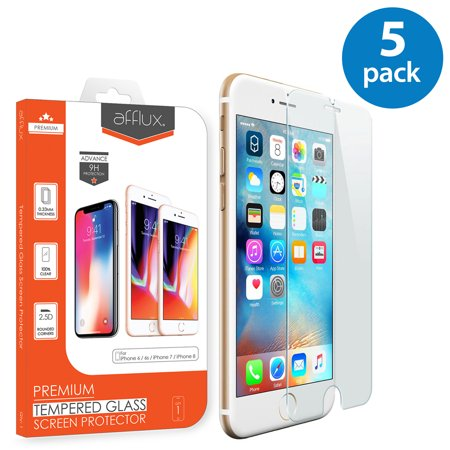 5x Afflux Apple iPhone 6 Tempered Glass Screen Protector Film Guard Case Friendly For iPhone 6