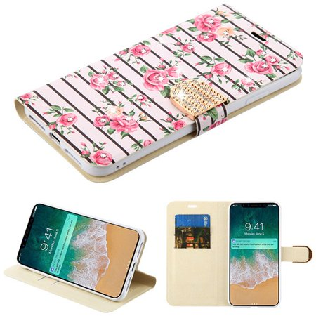Apple iPhone Xs Max (6.5 Inch) - Phone Case Leather Flip Wallet Pink Fresh Roses Diamante Bling