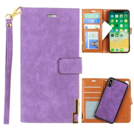 iPhone X Wallet Case, Soft Faux Suede Leather with Matching Detachable Flip Cover with Credit Card Holder Wristlet for Women [Ultrasuede 2.0 - Purple]