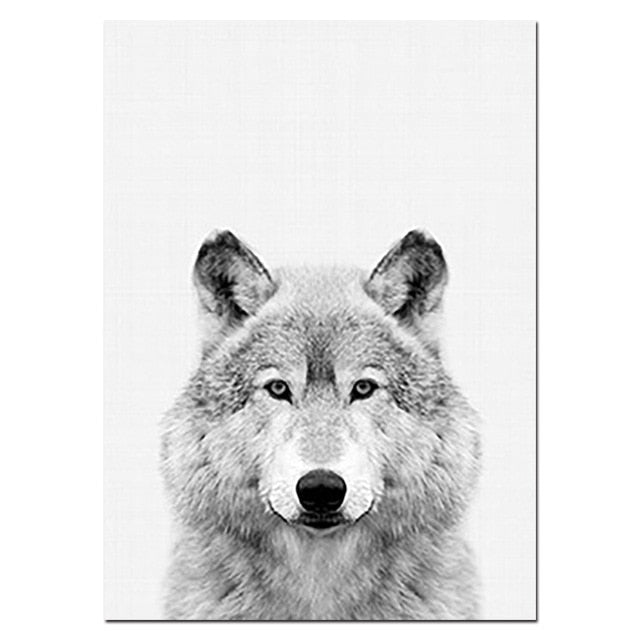 Wall Art Picture Wolf Head Animal Poster Nordic Style Black White Canvas Print