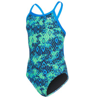 TYR Women's Glacial Diamondfit Swimsuit YouthFit- Blue/ Green