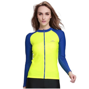 Womens long sleeves swimwear tops windsurfing uv protection swimsuit surf drifting snorkeling wetsuit