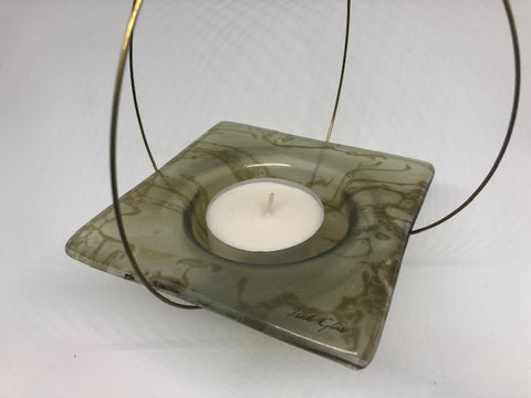Flying candle holder, Bottle green