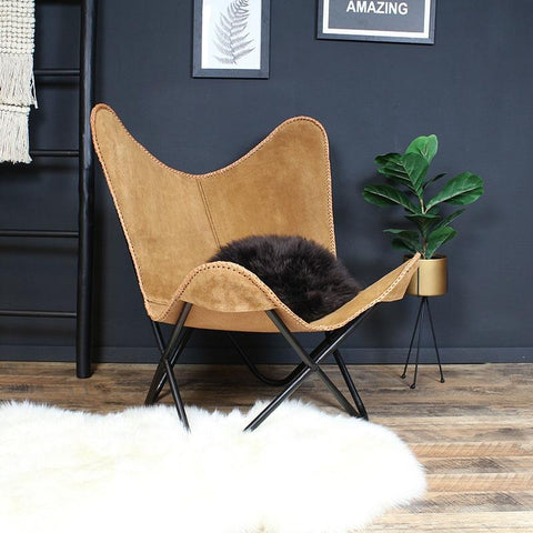 Butterfly chair Camel leer suede