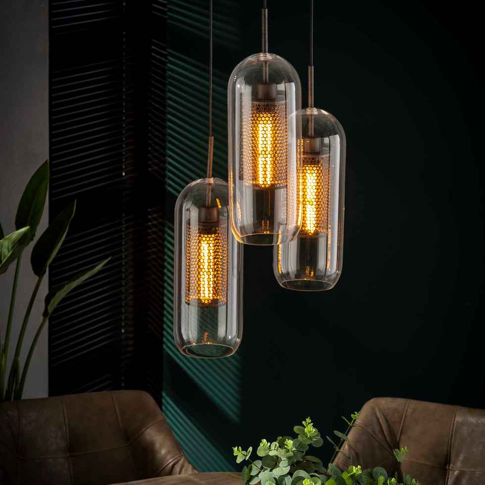 Industriële hanglamp Ruby 3-lichts glas staal