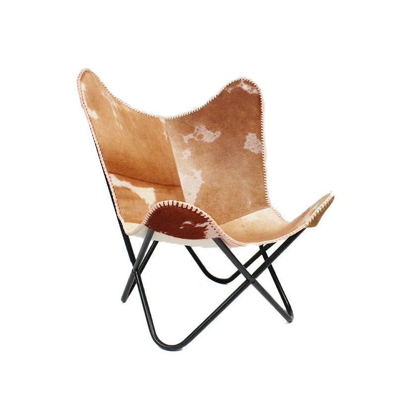Butterfly chair leer cow hair modern industrieel metalen frame