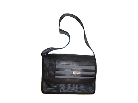 "Recycled Inner Tube Seatbelt ""Striped Series"" Adjustable / Cross Body Laptop Bag. handmade from aluminum pop top pull tabs"