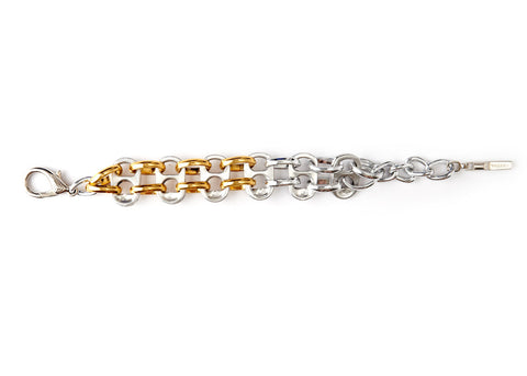 Recycled Pull Tab Bracelet Opposite Gold/Silver Ovals handmade from aluminum pop top pull tabs