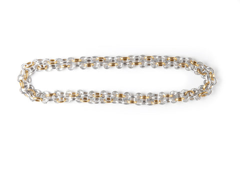 Recycled Pull Tab Necklace Long Gold and Silver handmade from aluminum pop top pull tabs