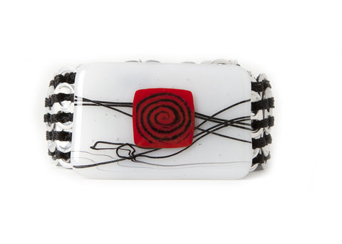 NCSF 03 Belt With Fused Glass Red Square handmade from aluminum pop top pull tabs