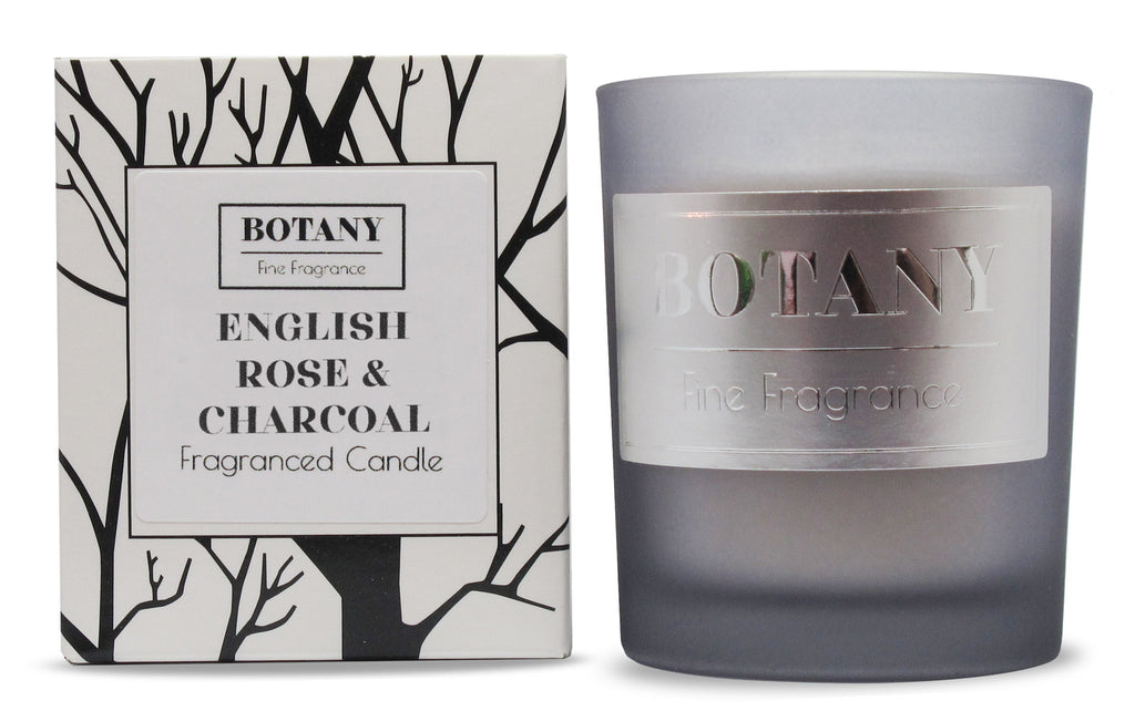 English Rose & Charcoal Small Glass Candle