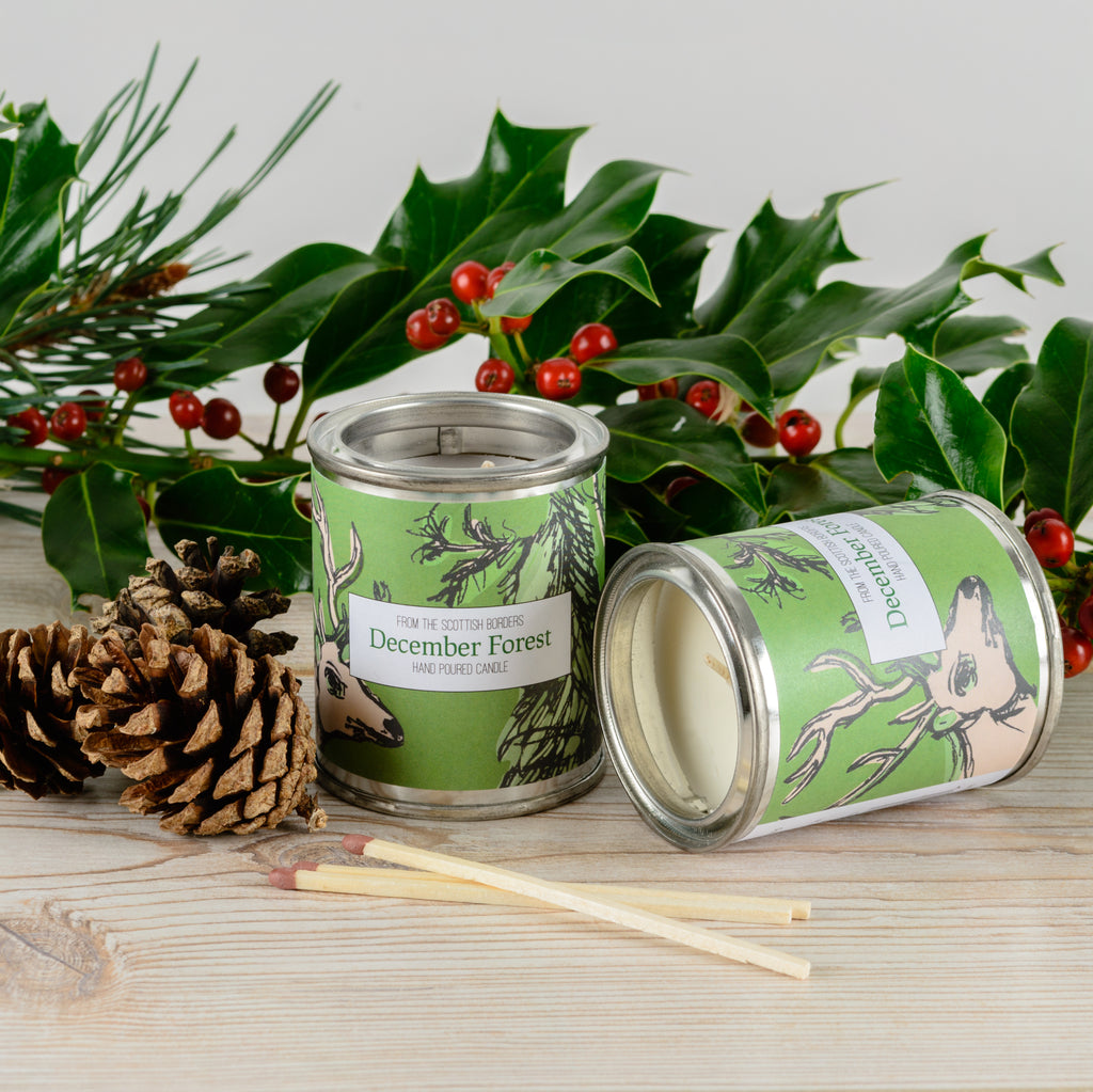 December Forest Small Paint Tin Candle