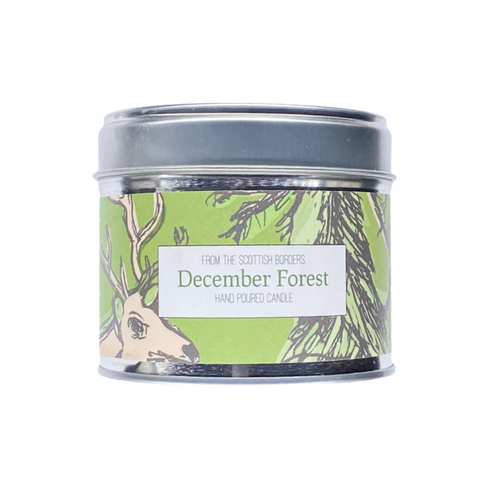 December Forest Lidded Tin Candle