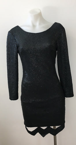 Black Sequin Dress with Detail - Blossom