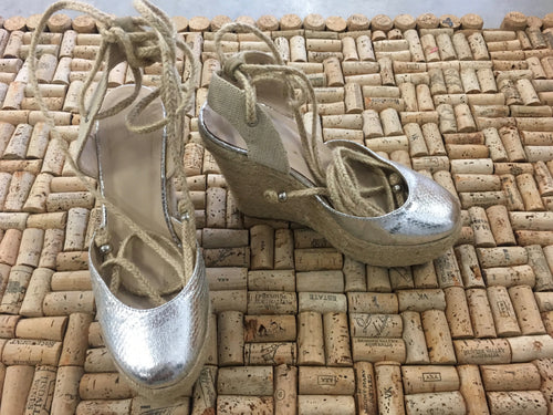 Cream and Silver Platform Heels with Ankle Wrap - ELA