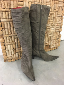 Grey / Brown Faux Suede Boots - Mimosa