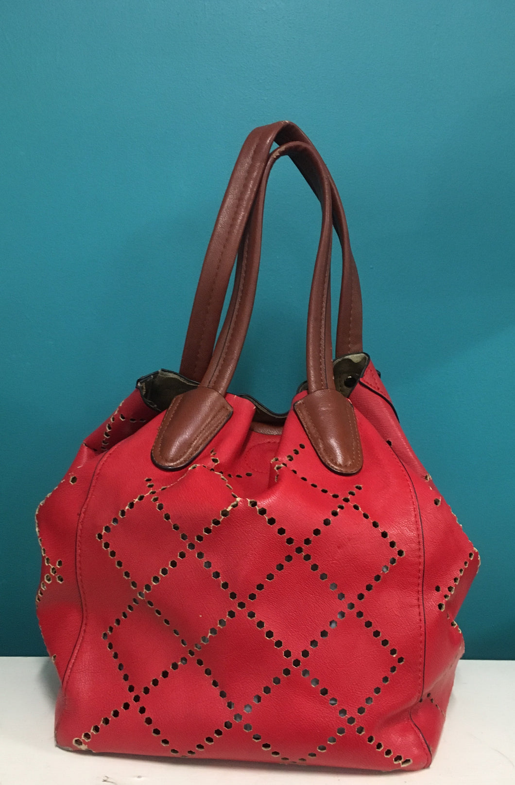 Red Bag with Cutout Detail - Designer Unknown