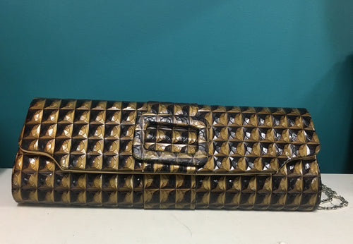 Vintage Gold and Black Clutch Purse - Designer Unknown