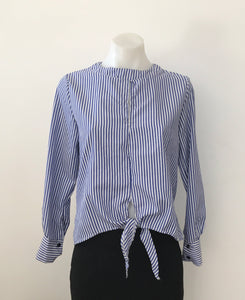 Blue and White Strip Tie Up Top - Designer Unknown