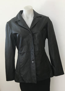 Black Genuine Leather Jacket - Via Reggio Italy