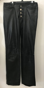 Black Genuine Leather Pants - Dorys
