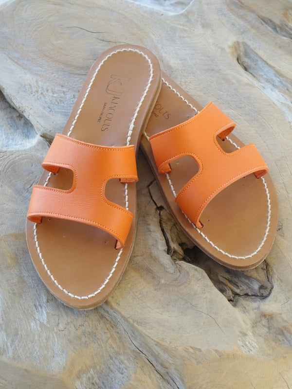 K Jacques Handmade Leather Sole Orange Slip On Menandre Sandals