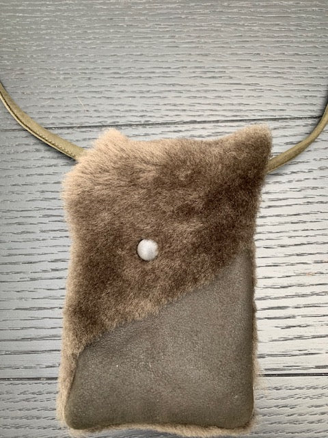 Shearling / Leather Phone Bag