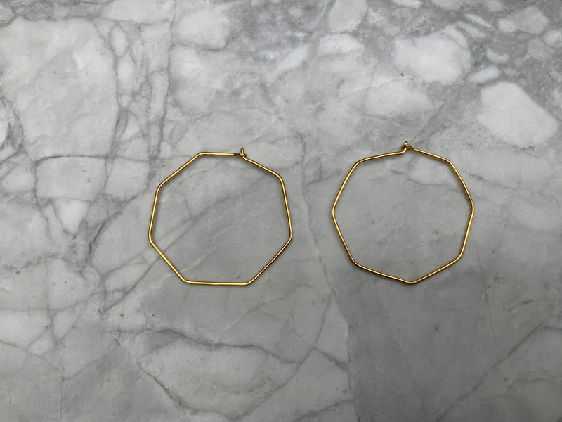 Tamara Heptagon Gold Plated Hoop