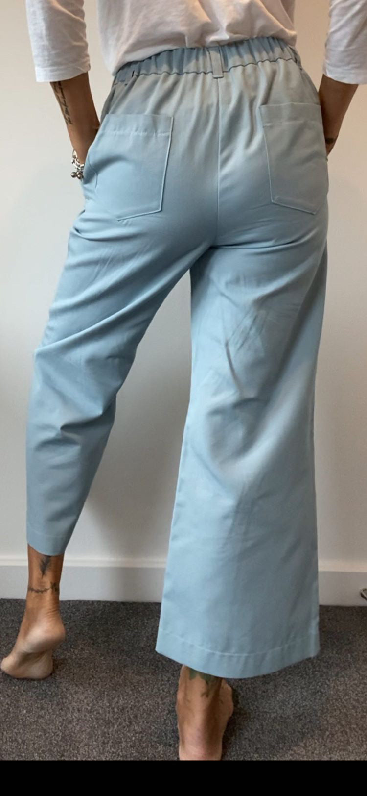 Astrid Blue Cotton Twill Trousers
