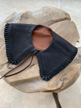 Leather pleated edge collar