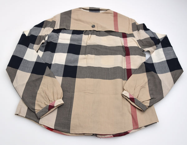 BURBERRY CAMICIA BAMBINA JUNIOR BEIGE CHECK COLOR COTONE ART. B15B40