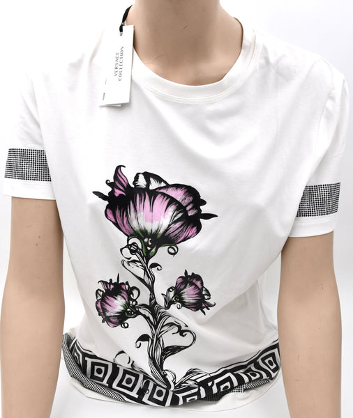VERSACE COLLECTION DONNA MAGLIA T-SHIRT MANICHE CORTE GIROCOLLO ART. G35006