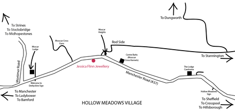 Image shows a map of Hollow Meadows village and how to find the Jessica Flinn Studio