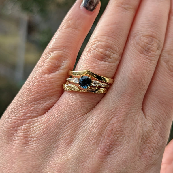 Florence - Salt & Pepper Pear Shaped Diamond with Halo Engagement Ring Ready-to-Ship