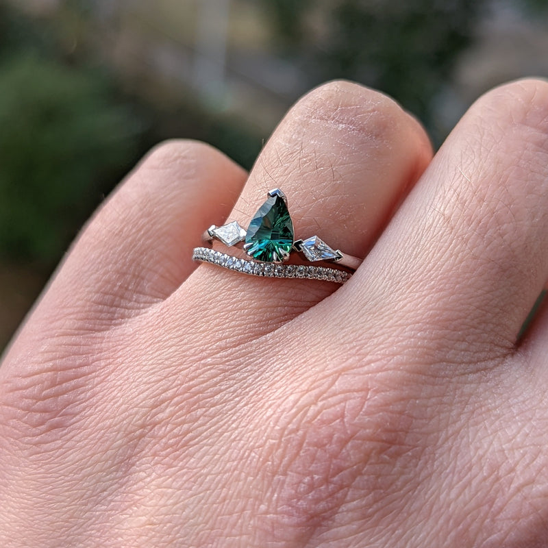 Callie - Salt & Pepper Diamond Trilogy Engagement Ring in Yellow Gold Ready-To-Ship