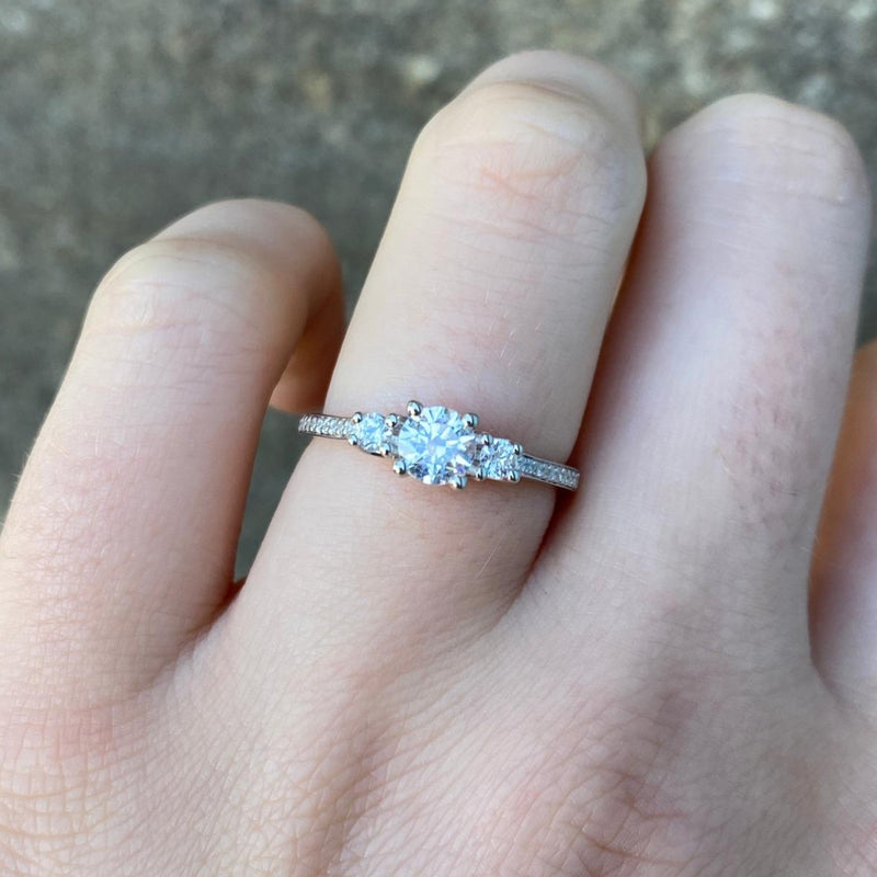 Callie - White Diamond 0.45ct Trilogy Engagement Ring Made-To-Order