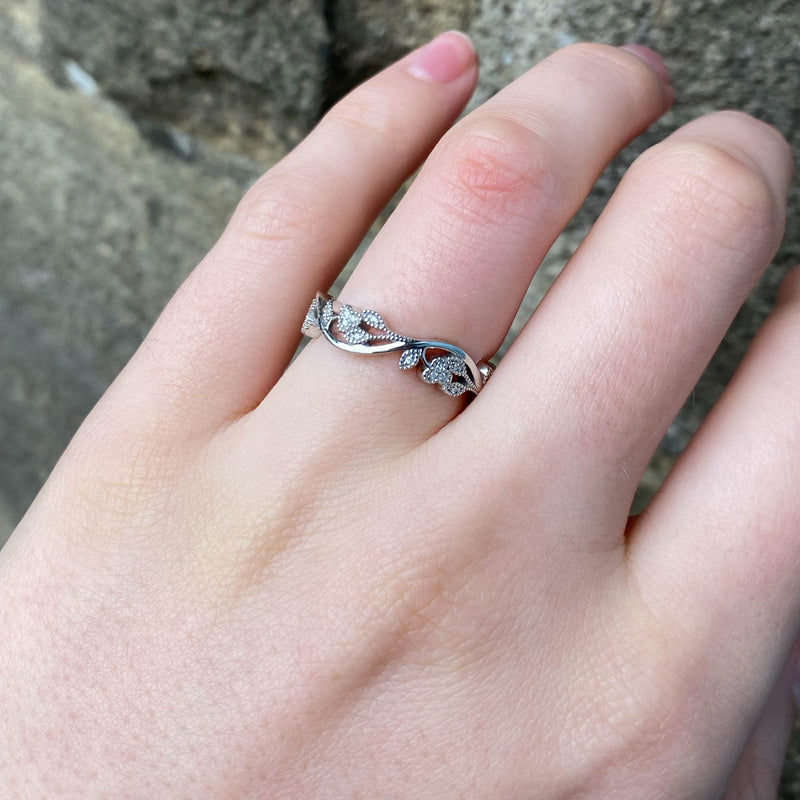 Eveline - Vine Inspired Beaded Diamond Set Ring Made-to-Order
