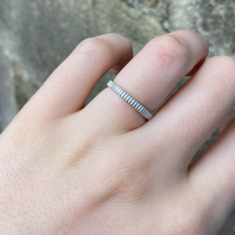 Gabrielle - Ribbed French Style Wedding Ring Ladies Made-to-Order