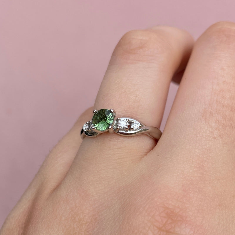 Isabelle Blue/Aqua Diamond Hexagon Engagement Ring Ready-to-Ship