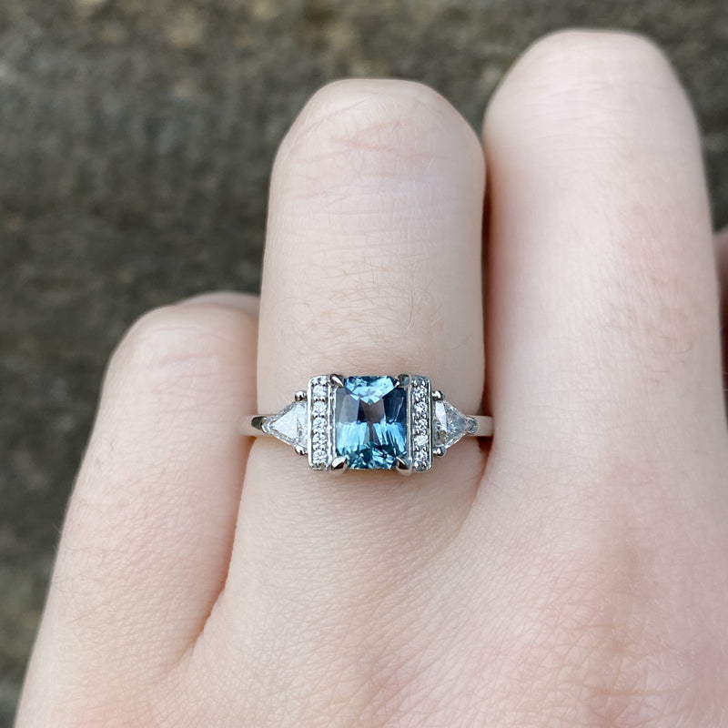 Ophelia - Radiant Cut Blue/Green Sapphire Platinum Engagement Ring - Ready To Ship