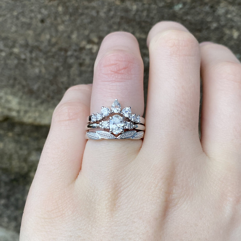 Natalia - White Oval Lab Grown Diamond Engagement Ring with Side Stones Ready-To-Ship