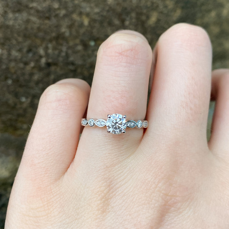 Amelia - White Diamond Engagement Ring with Diamond Set Band Made-to-Order