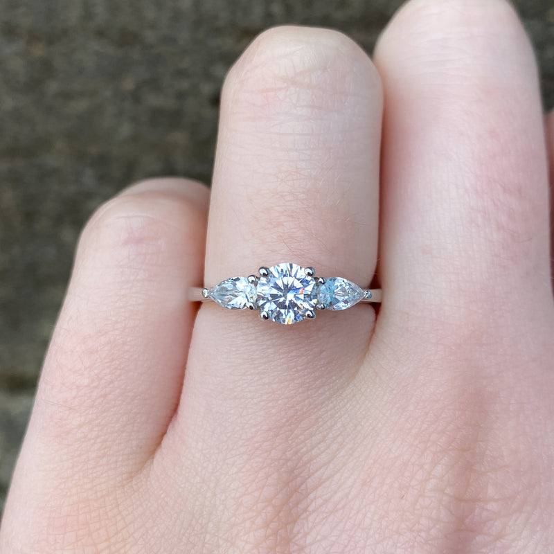 Daphne - White Diamond Trilogy Engagement Ring Pear Side Stones Made-to-Order