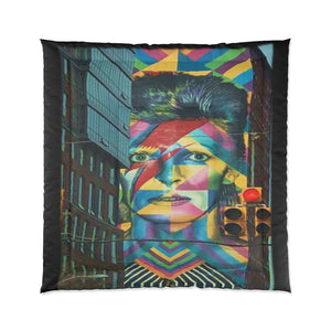 Tribute To Bowie Hoboken Street Art Comforter