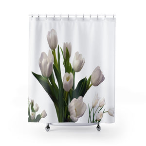 Holland White Tulips Shower Curtains