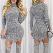 Load image into Gallery viewer, Turtle Neck Long Sleeve Asymmetrical Women's Dress