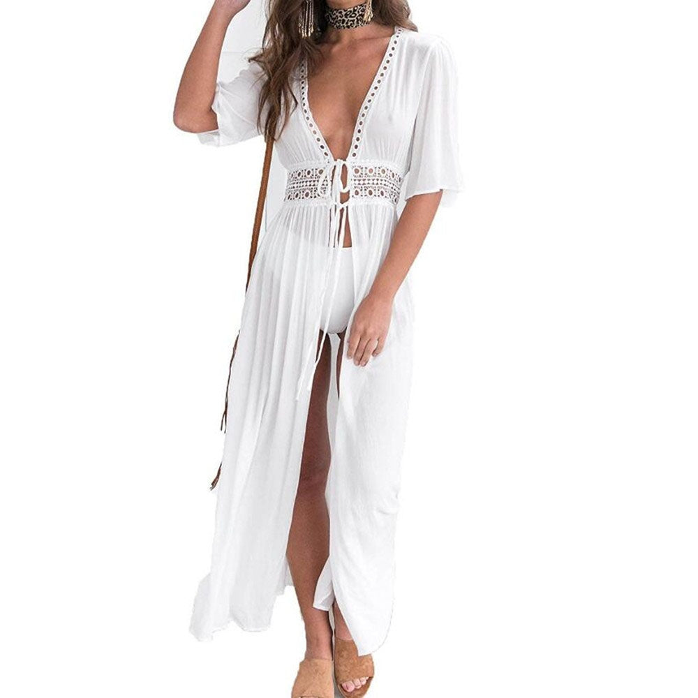 Women's Sexy Solid Color Short Sleeve Chiffon Dress